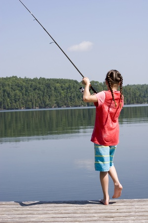 Young girl fishing  photo