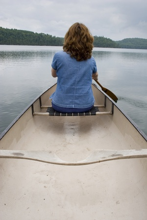Woman canoeing on a lake  photo