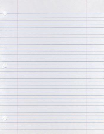 Sheet of looseleaf paper  Stockfoto
