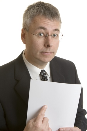 Businessman pointing at blank document  photo