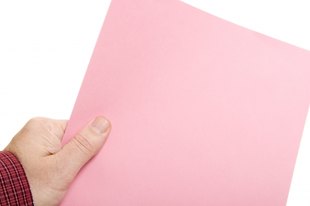 downsized: Hand with Pink Slip Layoff Notice