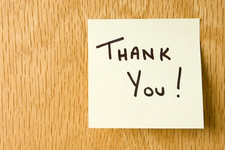 sticky hands: Hand Written Thank You Note on a sticky note