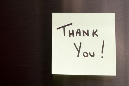 Hand Written Thank You Note on a sticky note photo