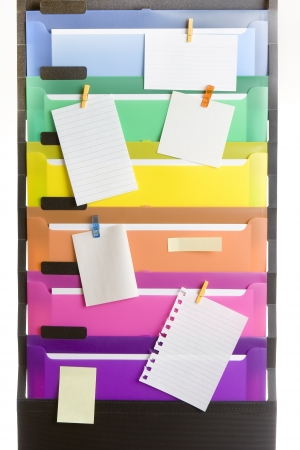 Colorful File Folders with Blank Notes  photo