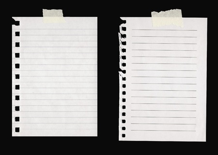Sheets of lined paper with masking tape