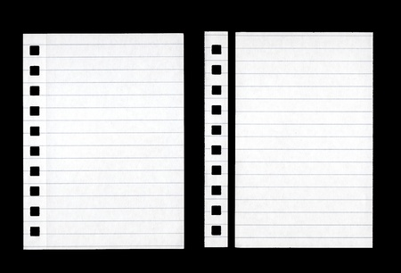 2 small sheets of Lined Paper isolated on Black Stock Photo - 11677250