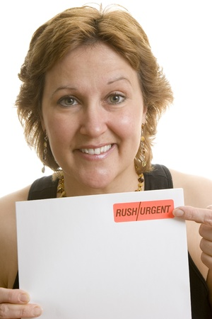 due: Businesswoman urgent letter reminder  Stock Photo