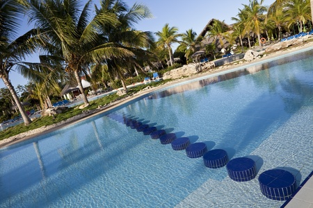 five star: Luxury Resort Hotel Swimming Pool with Palm Trees