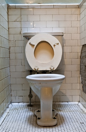 public toilet: dirty old toilet bowl