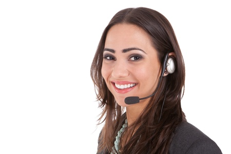 help: Customer service with a smile  Stock Photo