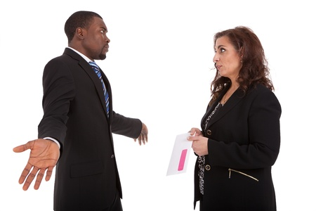 severance: Pink Slip Layoff HR manager firing an employee  Stock Photo