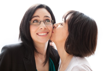 cheek to cheek: Mother and daughter  Stock Photo