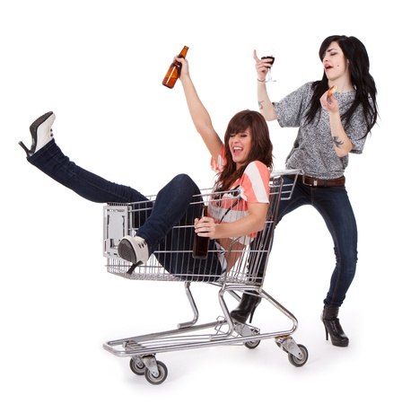 drink responsibly: Drunk Party Girls  Stock Photo