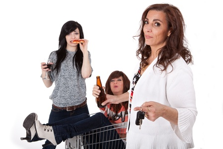 Sober mother taking car keys away from drunk party girls  Stock Photo - 11700118