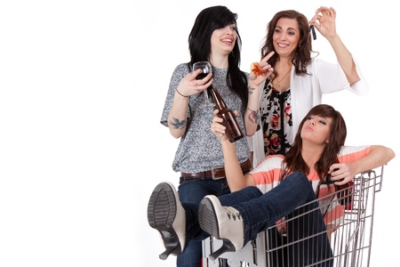 Sober mother taking car keys away from drunk party girls  photo