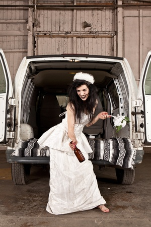 to stumble: Hillbilly bride with a beer