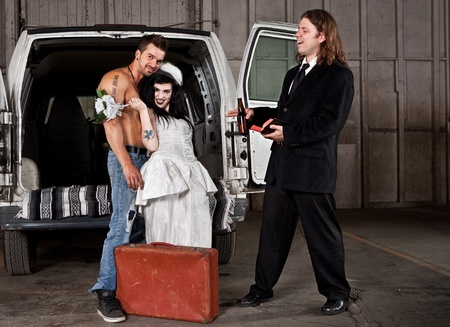 shirtless guy: Hillbilly boda (tipo camisa y la versi�n predicador) Foto de archivo