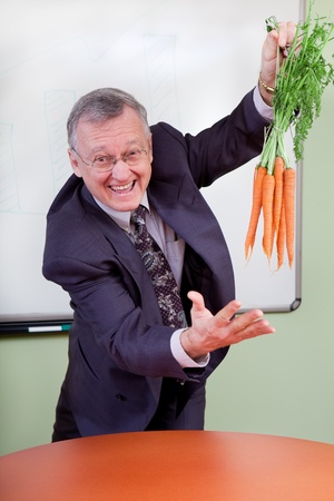 motivator: The great motivator dangling carrots  Stock Photo