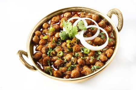 Chole masala garnished with onion rings and coriander Stock Photo - 17327277