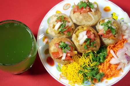 Close-up of pani puri served in a plate Stock Photo - 17327292