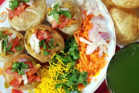 chaat: Close-up of pani puri served in a plate