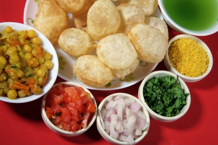 Close-up of puri and other ingredients of pani puri Stock Photo - 17327294