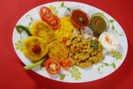 Indredients of chaat served in a plate Stock Photo - 17327304