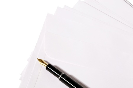 Close-up of envelopes and a pen Stock Photo - 17327306