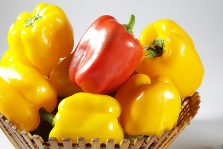 Bell peppers in a basket Stock Photo - 17327319