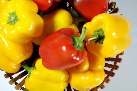 Close-up of bell peppers in a basket Stock Photo - 17327320