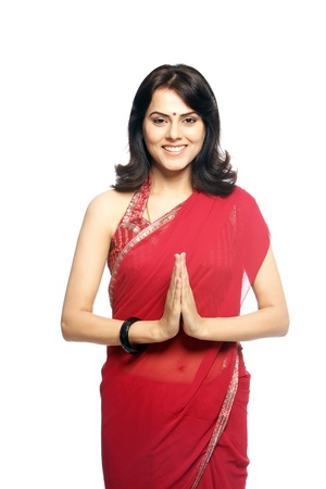 namaste: Retrato de mujer joven en sari LANG_EVOIMAGES