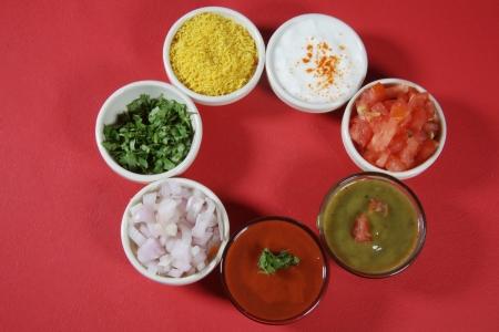 sev: Panipuri ingredients arranged in bowls,indian street food Stock Photo