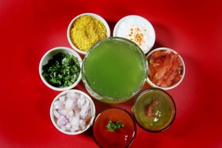 chaat: Panipuri ingredients arranged in bowls,indian street food Stock Photo