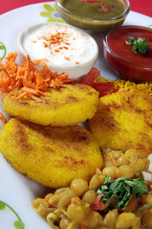 sev: Ingredients of chaat served in a plate