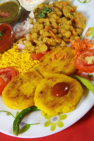 chaat: Close-up of ingredients of ragada chaat Stock Photo