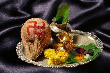 Traditional pooja thali photo
