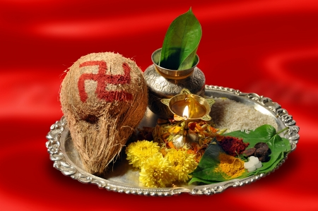 pooja: Traditional pooja thali