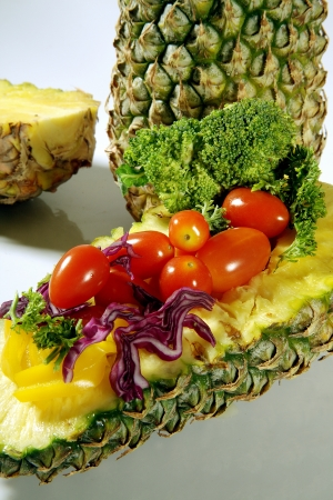 Close-up of fresh fruits and vegetables photo