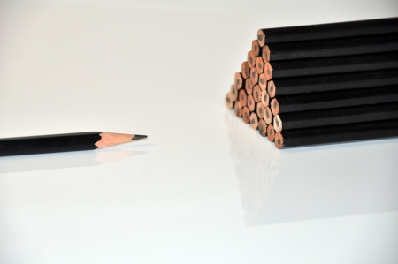 Close-up of pencils highlighting sharpened pencil photo