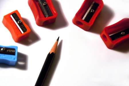 sharpeners: Close-up of pencil and sharpeners