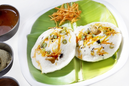 Indian breakfast Idli served in a plate Stock Photo