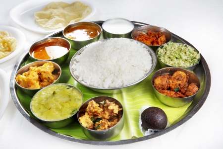 gulab: Indian Vegetarian Thali Stock Photo