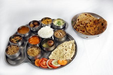 Indian Vegetarian Thali Stock Photo