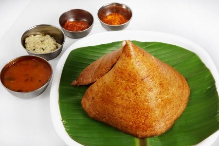 dosa: Indian breakfast dosa served in a plate Stock Photo