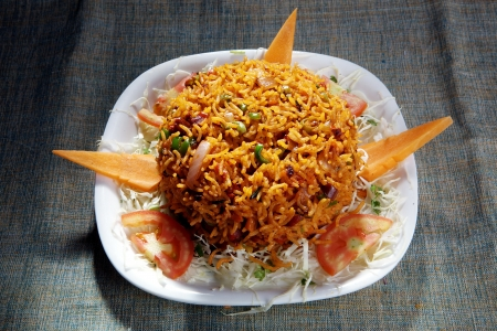 Indian dish pulav Rice with vegetables,m     Standard-Bild