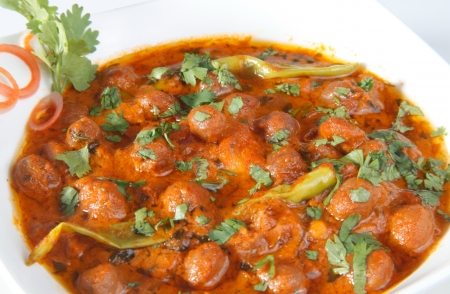 Close-up of chole masala curry served in a bowl photo