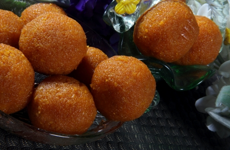 Close-up of moti choor laddus
