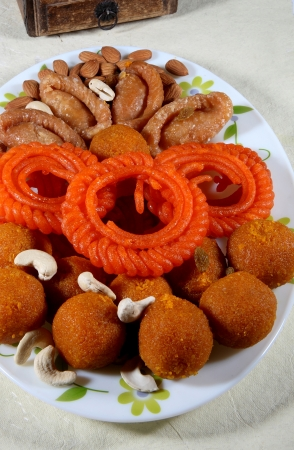 indian cookery: Close-up of traditional Indian sweets