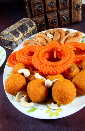 Close-up of traditional Indian sweets