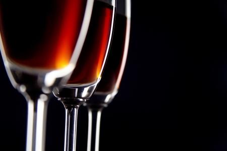 Close up of three wine glasses arranged